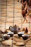 Set of China tea background. Set of China tea and bamboo mat background Royalty Free Stock Photo