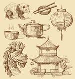 Set China-von Hand gezeichnet Ikonen Stockbilder