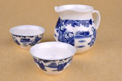 Set of Chinese blue Painting tea ware Royalty Free Stock Photos