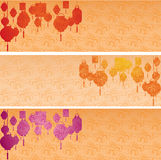 Set of Chinese cloud pattern lanterns horizontal banners. Set of colorful Asian traditional cloud pattern horizontal banners with hanging lanterns and space for Stock Photo
