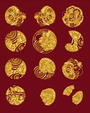 Set of Chinese cloud and water tattoo in circle.gold cloud vector in circle Royalty Free Stock Images