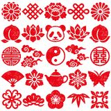 Set of Chinese decorative icons. stamp set. stock illustration