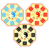 Set Chinese Feng Shui Bagua square. vector illustration Royalty Free Stock Photography