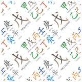 Set of chinese feng shui hieroglyphs seamless pattern. Royalty Free Stock Photos