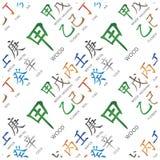Set of chinese feng shui hieroglyphs seamless pattern. Stock Photography