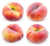 Set of chinese flat donut peaches on white Stock Photos