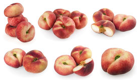Set of chinese flat peaches Royalty Free Stock Image