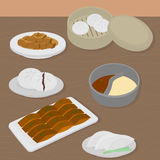 Set of chinese food flat design elements. Asian street food menu. Traditional dish Peking duck, soup huo guo, pork and Royalty Free Stock Photos