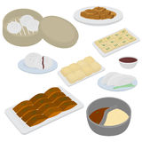 Set of chinese food flat design elements. Asian street food menu. Traditional dish Peking duck, soup huo guo, pork and Royalty Free Stock Photography