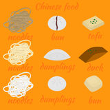 Set of chinese food flat design elements. Asian street food menu. Traditional dish Peking duck and tofu. Dumplings Royalty Free Stock Image