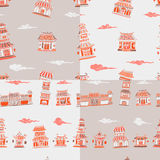 Set of 4 chinese or japanese buildings seamless pattern Stock Photography