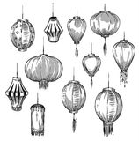 Set of Chinese lanterns Stock Photo