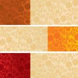 Set of Chinese lotus pattern horizontal banners Royalty Free Stock Photo
