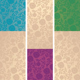 Set of Chinese lotus pattern vertical banners Stock Photos