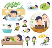 Chinese man_relax. A set of Chinese men about relaxing.There are actions such as vacation and stress relief.It`s vector art so it`s easy to edit royalty free illustration