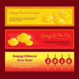 Set of Chinese new year banner design. With Gong xi fa cai greeting word means Wishing you a prosperous year in english royalty free illustration
