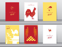 Set of chinese new year 2017cards,chinese cards,poster,template,greeting cards,animals,cute,rooster,Vector illustrations. Set of chinese new year 2017cards Royalty Free Stock Image