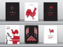 Set of chinese new year 2017cards,chinese cards,poster,template,greeting cards,animals,cute,rooster,Vector illustrations. Set of chinese new year 2017cards Stock Photography