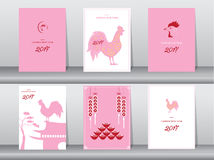 Set of chinese new year 2017cards,chinese cards,poster,template,greeting cards,animals,cute,rooster,Vector illustrations. Set of chinese new year 2017cards Stock Images