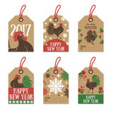 Set of 2017 Chinese New Year Gift Tags. On Cardboard Paper. Retro Hipster Design with Rooster Character. Vector Illustration Royalty Free Stock Images