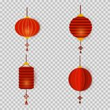 Set of Chinese New Year lanterns in paper cut art style round and cylinder shape. Asian decoration for Mid-Autumn. Festival, Chuseok and other holidays. Vector vector illustration