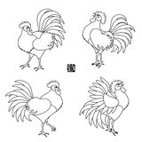 Set of Chinese 2017 New Year Roosters. Set of Chinese 2017 New Year Zodiac Symbols. Line Art Style. Vector illustration. Crowing Cock. Hieroglyph Stamp stock illustration