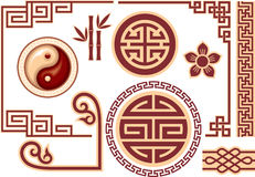 Set of Chinese Oriental Design Elements Stock Photos