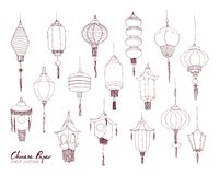 Set of Chinese paper street lanterns of different types and sizes hand drawn with contour lines. Bundle of traditional Royalty Free Stock Images
