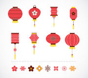 Set of Chinese red lanterns and elements Stock Photo