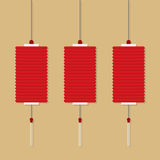 Set Of Chinese Red Lanterns Stock Photos