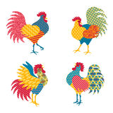 Set of Chinese Roosters in Patchwork Style Royalty Free Stock Images