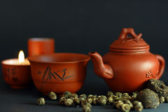 Set for the Chinese tea ceremony. And different kinds of tea Stock Photos