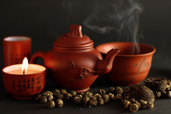 Set for the Chinese tea ceremony. And different kinds of tea Royalty Free Stock Photo