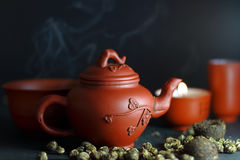Set for the Chinese tea ceremony. And different kinds of tea Royalty Free Stock Image