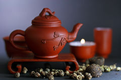 Set for the Chinese tea ceremony. And different kinds of tea Royalty Free Stock Photos