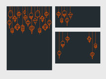 Set of chinese template with lanterns. Vector Set of  black templates with orange asian lanterns Royalty Free Stock Photos