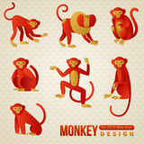 Set of Chinese Zodiac - Monkeys. 2016 New Year Stock Photography
