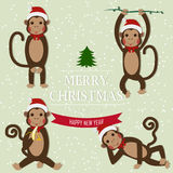 Set of Chinese Zodiac - Monkeys. Vector illustration. 2016 New Year Symbol. Sitting Monkey, Dancing Monkey. Monkey in Santa Hat. Greeting for New Year and Royalty Free Stock Images
