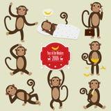 Set of Chinese Zodiac - Monkeys. Vector illustration. 2016 New Year Symbol. Sitting Monkey, Dancing Monkey with Vntage Badges Stock Image