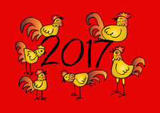 Set of Chinese Zodiac Roosters. Royalty Free Stock Images
