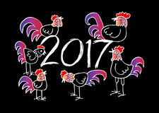Set of Chinese Zodiac Roosters. Stock Image