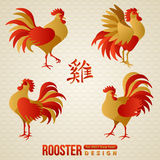 Set of Chinese Zodiac Roosters. Vector illustration. 2017 New Year Symbol. Crowing Cock. Red and Gold Traditional Colors. Hieroglyph translation - Rooster stock illustration