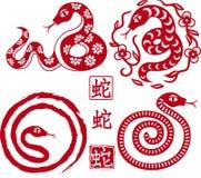 Set chinesische angeredete Schlangen als Symbol des Jahres Stockbilder