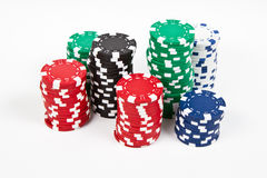 Set of chips. Chips over a white table royalty free stock images