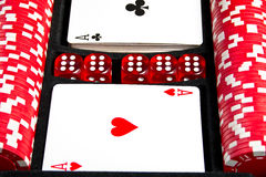 Set of chips and cards for the poker. Stock Photography