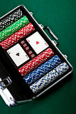 Set of chips and cards for the poker. Stock Image