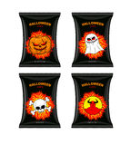 Set chips for Halloween. Terrible Food for holiday. Snacks with Royalty Free Stock Photography
