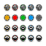 Set chips for poker yellow green grey red  one in the middle and rectangles with a side. round  white dotted line . an icon on the Stock Photo
