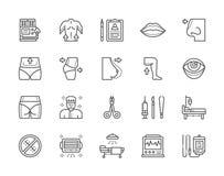 Set chirurgii plastycznej linii ikony Chirurg, Liposuction, rynoplastyka i więcej, ilustracja wektor