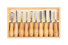 Set of Chisels in box Stock Image